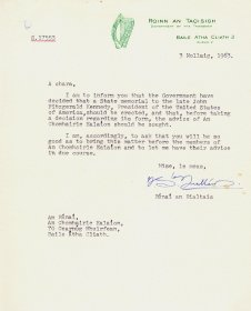 Letter from the Secretary of the Department of the Taoiseach to the Secretary of the Arts Council.
