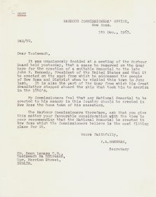 Copy of a letter from P.A. Brennan of the Harbour Commissioners' Office New Ross to the Taoiseach, Seán Lemass, enclosed in letter of 6th December 1963 from the Secretary to the Department of the Taoiseach to the Secretary to the Arts Council. [Letter reproduced courtesy of New Ross Port Company]