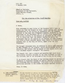 Letter to Dr N.S. Ó Nualláin, Secretary to the Department of the Taoiseach from Mervyn Wall, Secretary to the Arts Council.