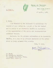 Letter from Dr N.S. Ó Nualláin to the Secretary to the Arts Council.