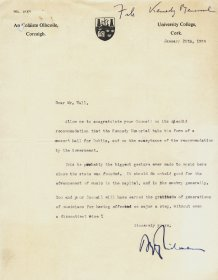Letter from University College Cork to Mervyn Wall, Secretary of the Arts Council.