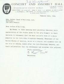 Letter from Olive Smith of the Concert and Assembly Hall Limited to Father Donal O'Sullivan S.J. Director of the Arts Council.