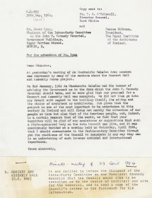 Letter from Donal O'Sullivan S.J. Director of the Arts Council to Dr James Ryan, Chairman of the Inter-Party Committee on the John F. Kennedy Memorial. 