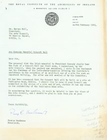 Letter from Pearse MacKenna, President of the Royal Institute of the Architects of Ireland to Mervyn Wall, Secretary to the Arts Council.