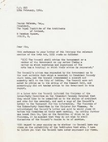 Letter from Mervyn Wall, Secretary of the Arts Council to Pearse MacKenna, RIAI. (Page 1 of 2)