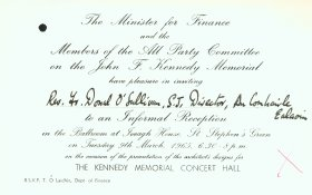 Invitation from the Minister for Finance and the Members of the All Party Committee on the John F. Kennedy Memorial to Rev. Fr. Donal O'Sullivan, S.J. Director of the Arts Council.