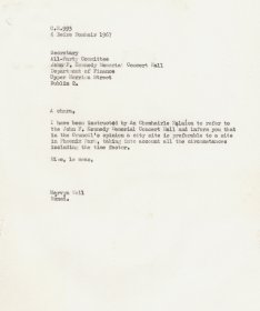 Letter from Mervyn Wall, Secretary of the Arts Council to Secretary of the All-Party Committee John F. Kennedy Memorial Concert Hall.