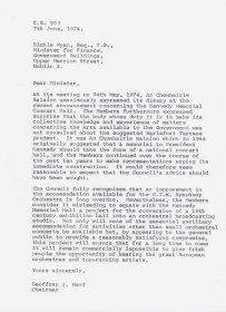 Letter from Geoffrey J. Hand, Chairman of the Arts Council to Richie Ryan, Minister for Finance.