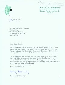 Letter from Mary Morrissey, Office of the Minister for Finance to Geoffrey J. Hand, Chairman of the Arts Council.