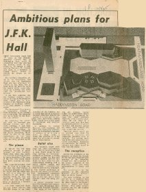 Irish Press article entitled, 'Ambitious plans for J.F.K. Hall, including image of model.[Copyright courtesy of the Irish Press]