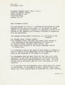 Letter from Speer Ogle, Organiser and Exhibitions Officer, the Arts Council to Professor Richard Guyatt, School of Graphic Design, Royal College of Art.  (Page 1 of 2)