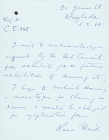 Letter from Nano Reid to the Arts Council requesting application form to make a submission.  [Letter reproduced courtesy of the estate of Nano Reid]