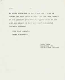 Letter from Speer Ogle, the Arts Council to Ryoko Ishikawa, Embassy of Japan. (Page 3)