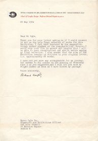 Letter from Richard Guyatt of the Royal College of Art to Speer Ogle, the Arts Council.