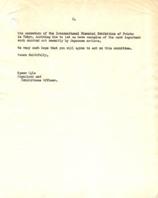 Letter from Speer Ogle, Organiser and Exhibitions Officer, the Arts Council to Professor Richard Guyatt, School of Graphic Design, Royal College of Art.  (Page 2)
