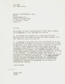 Letter from Mervyn Wall, Secretary of the Arts Council to Piaras Mac Lochlainn.