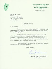 Letter from Piaras F. Mac Lochlainn, Secretary of the Office of Public Works to Mervyn Wall, Secretary of the Arts Council. [Letter reproduced courtesy of the Office of Public Works]