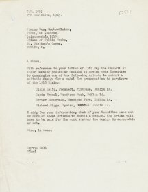 Letter from Mervyn Wall, Secretary of the Arts Council to Piaras Mac Lochlainn, Office of Public Works.