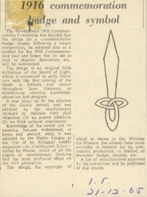 Irish Times article entitled, '1916 commermoration badge and symbol'.