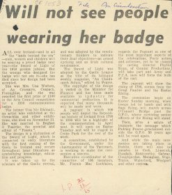 Irish Press article entitled, 'Will not see people wearing her badge'. [Copyright courtesy of the Irish Press].