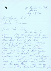 Letter from Deirdre O'Connell founder of the Focus Theatre to Mervyn Wall, Secretary of the Arts Council. (Page 1 of 6)