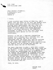 Letter from Mervyn Wall, Secretary of the Arts Council to Deirdre O'Connell of the Focus Theatre