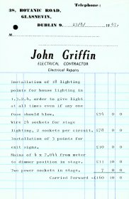 Invoice from John Griffin, Electrical Contractor itemising lighting equipment supplied to Focus Theatre. (Page 1 of 2)