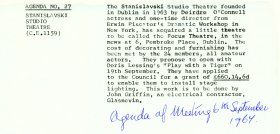Agenda item 27 relating to the Stanislavski Studio Theatre, in the Arts Council's meeting of 6 September 1967 .