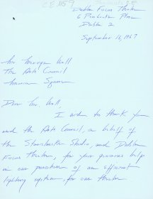 Letter from Deirdre O'Connell of the Focus Theatre to Mervyn Wall, Secretary to the Arts Council. (Page 1 of 2)