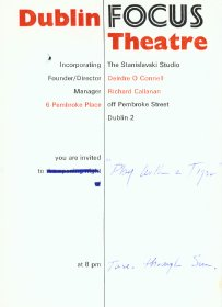 Invitation from Dublin Focus Theatre to see Play with a Tiger.