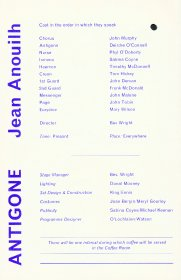 Programme for production by Dublin Focus Theatre of Antigone by Jean Anouilh. (Side 1)