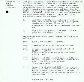 Agenda item 10, relating to the Focus Theatre, in the Arts Council's meeting of 2 May 1973.