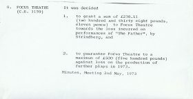 Minute number 8, relating to the Focus Theatre, from the Arts Council's meeting of 2 May 1973.