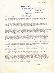 Letter from Clive Burland to Mervyn Wall, Secretary of the Arts Council. [Letter reproduced courtesy of the National College of Art and Design] (Page 1 of 2)