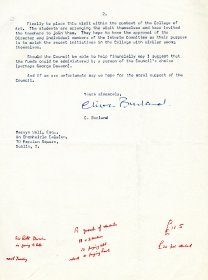 Letter from Clive Burland to Mervyn Wall, Secretary of the Arts Council [Letter reproduced courtesy of the National College of Art and Design] (Page 2)