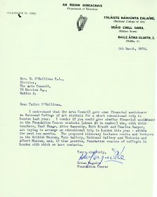 Letter from Brian Maguire, Foundation Course, NCAD to Rev. D. O'Sullivan S.J. Director of the Arts Council. [Letter reproduced courtesy of the National College of Art and Design]