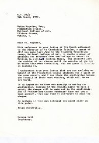 Letter from Mervyn Wall, Secretary of the Arts Council to Brian Maguire, NCAD.