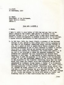 Letter from Mervyn Wall to the Secretary of the Department of the Taoiseach. (Page 1 of 2)