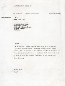 Letter from Mervyn Wall, Secretary of the Arts Council to Brian Maguire, NCAD
