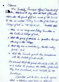 Handwritten memo by Mervyn Wall, Secretary of the Arts Council, re a phone call from  a Mr Cuddihy, Principal Officer of the Department of Education (Page 1 of 3)