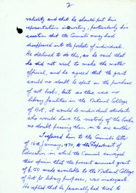 Handwritten memo by Mervyn Wall, Secretary of the Arts Council, re a phone call from a Mr Cuddihy, Principal Officer of the Department of Education (Page 2 of 3)