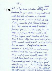 Handwritten memo by Mervyn Wall, Secretary of the Arts Council, re a visit from Ms Dymphna Mullen of the National College of Art. (Page 1 of 2)