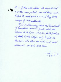 Handwritten memo by Mervyn Wall, Secretary of the Arts Council, re a visit from Ms Dymphna Mullen National College of Art. (Page 2)
