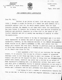 Letter from John Ruddock, Secretary of the Limerick Music Association to Mervyn Wall, Secretary of the Arts Council. (Page 1 of 2)