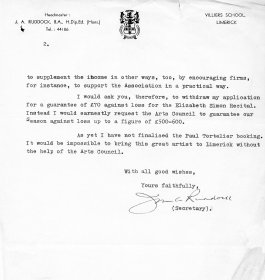 Letter from John Ruddock, Secretary of the Limerick Music Association to Mervyn Wall, Secretary of the Arts Council. (Page 2)