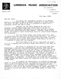 Letter on Limerick Music Association headed paper from John Ruddock, Honorary Secretary of Limerick Music Association to Mervyn Wall, Secretary of the Arts Council. (Page 1 of 2)