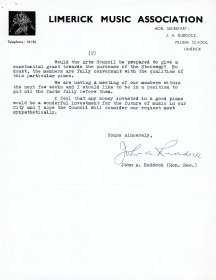 Letter on Limerick Music Association headed paper from John Ruddock, Honorary Secretary of Limerick Music Association to Mervyn Wall, Secretary of the Arts Council. (Page 2)