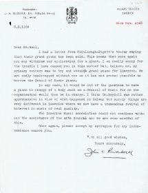 Letter from John Ruddock, Secretary of the Limerick Music Association to Mervyn Wall, Secretary of the Arts Council.
