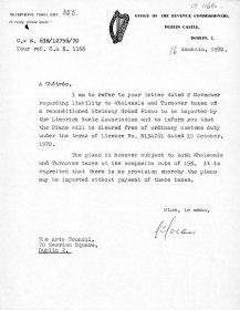 Letter from the Office of the Revenue Commisioners acknowledging receipt of the Arts Council's letter of 2 November 1970.