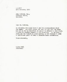Letter from Mervyn Wall, Secretary of the Arts Council to John Ruddock, Secretary of Limerick Music Association.